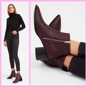 """EVERLANE   """"The Bose"""" Maroon Leather Ankle Boots"""